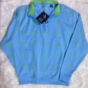Alan Flusser Golf 3/4 Zip Blue Green Plaid Shirt M